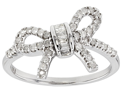 Photo of .31ctw Round And Baguette White Diamond 10k White Gold Ring - Size 8