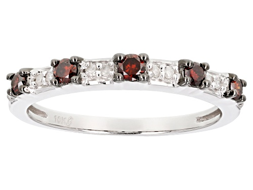 Photo of .25ctw Round Red And White Diamond 10k White Gold Ring - Size 8