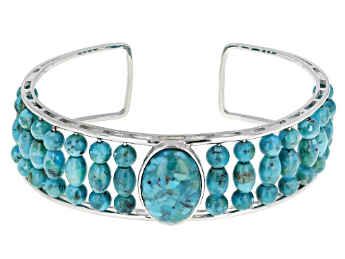 Photo of 18X13MM OVAL CABOCHON WITH ROUND AND BARREL SHAPE BEAD TURQUOISE RHODIUM OVER SILVER CUFF BRACELET - Size 8