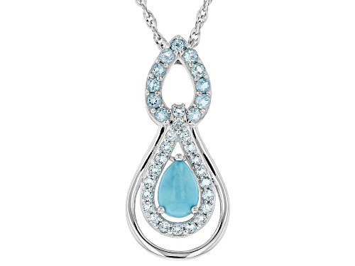 Photo of 10X7MM SLEEPING BEAUTY TURQUOISE & 1.46CTW SWISS BLUE TOPAZ RHODIUM OVER SILVER PENDANT WITH CHAIN
