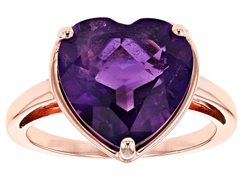 Photo of 4.68CT HEART SHAPE AFRICAN AMETHYST 18K ROSE GOLD OVER STERLING SILVER SOLITAIRE RING - Size 8