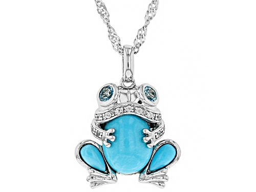 Photo of SLEEPING BEAUTY TURQUOISE, .33CTW TOPAZ & ZIRCON RHODIUM OVER SILVER FROG PENDANT W/ CHAIN