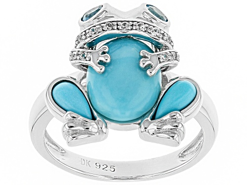 Photo of SLEEPING BEAUTY TURQUOISE, .33CTW SWISS BLUE TOPAZ AND WHITE ZIRCON RHODIUM OVER SILVER FROG RING - Size 8