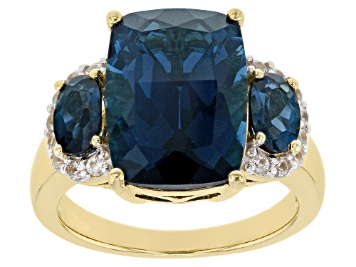 Photo of 7.90ctw London Blue Topaz with .26ctw White Zircon 18k Gold Over Silver 3-Stone Ring - Size 8