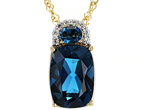 Photo of 7.39ctw London Blue Topaz & .13ctw White Zircon 18k Gold Over Silver Pendant/Slide With Chain