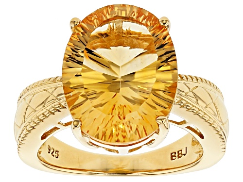 Photo of 6.80ct oval Brazilian golden citrine 18k yellow gold over sterling silver solitaire ring - Size 9