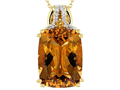 Photo of 8.52ctw Citrine with .07ctw White Zircon 18k Yellow Gold Over Sterling Silver Pendant with Chain