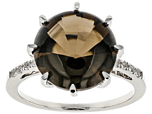 Photo of 5.25CT ROUND BUFF TOP SMOKY QUARTZ AND .12CTW ROUND WHITE TOPAZ RHODIUM OVER STERLING SILVER RING - Size 8