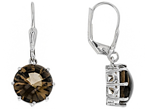Photo of 6.00CTW ROUND BUFF TOP SMOKY QUARTZ SOLITAIRE RHODIUM OVER STERLING SILVER DANGLE EARRINGS