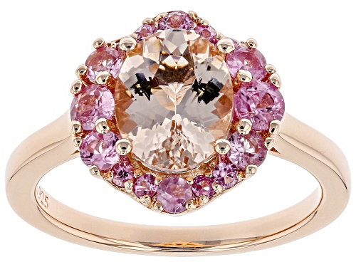 Photo of 1.32CT OVAL MORGANITE & .66CTW PINK SAPPHIRE 18K ROSE GOLD OVER SILVER RING - Size 8