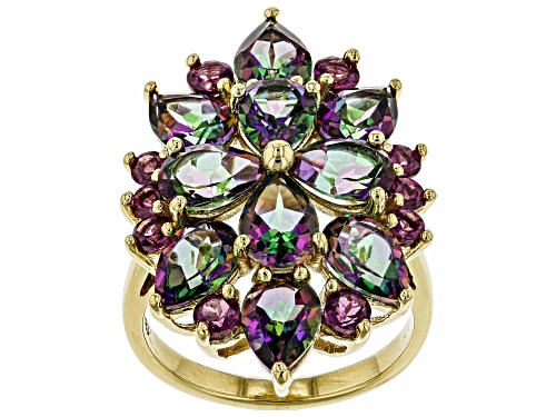 Photo of 6.80ctw Pear Shape Green Mystic Topaz® with .96ctw Rhodolite Garnet 18k Gold Over Silver Ring - Size 5