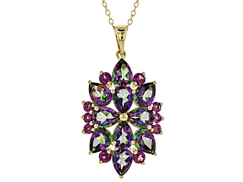 Photo of 6.80ctw Green Mystic Topaz® with .96ctw Rhodolite Garnet 18k Gold Over Silver Pendant with Chain