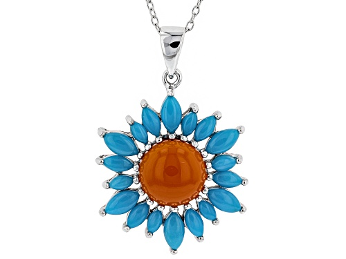 Photo of 10MM ROUND RED CARNELIAN & MARQUISE TURQUOISE RHODIUM OVER SILVER PENDANT W/ CHAIN