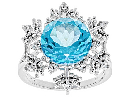 Photo of 4.50CT BLUE FLORA(TM) MYSTIC QUARTZ(R) & .19CTW TOPAZ SILVER SNOWFLAKE RING - Size 7