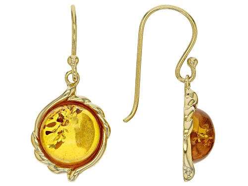 Photo of 10MM ROUND CABOCHON AMBER 18K YELLOW GOLD OVER SILVER EARRINGS