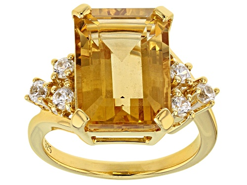 Photo of 6.38ct Brazilian Citrine with .62ctw Round White Zircon 18k Yellow Gold Over Sterling Silver Ring - Size 11