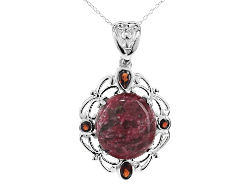 Photo of 20X18MM OVAL THULITE AND 1.53CTW VERMELHO GARNET(TM) RHODIUM OVER SILVER ENHANCER WITH CHAIN