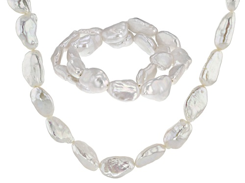 Photo of 12-14mm Baroque Cultured Freshwater Pearl Rhodium Over Silver Necklace With Two Stretch Bracelet Set