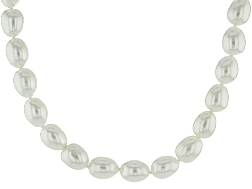 Photo of 8-9mm White Cultured Freshwater Pearl Rhodium Over Sterling Silver Strand Necklace - Size 20