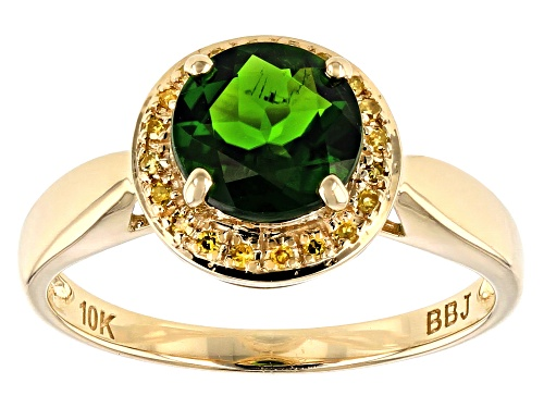 Photo of 1.21ct Round Chrome Diopside With .05ctw Round Yellow Diamond Accents, 10k Yellow Gold Ring - Size 9