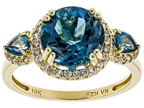 Photo of 4.15ctw Round And Pear Shape London Blue Topaz With .42ctw Round White Zircon 10k Yellow Gold Ring - Size 9