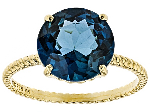 Photo of 4.75ct Round London Blue Topaz Solitaire 10k Yellow Gold Ring - Size 9