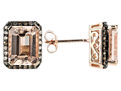 Photo of 3.40ct Emerald Cut Cor-De-Rosa Morganite™ With .22ctw Round Champagne Diamond 10k Rose Gold Earrings