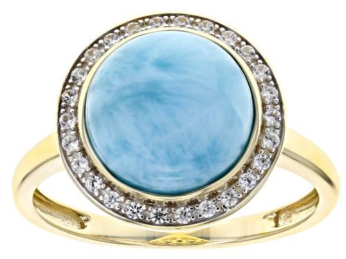Photo of 10mm Round  Larimar With .11ctw Round White Zircon 10k Yellow Gold Ring - Size 8