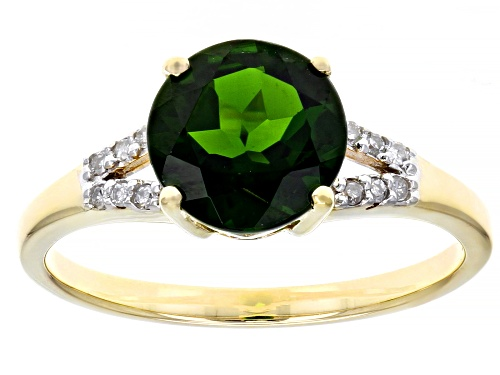 Photo of 1.82ct Round Russian Chrome Diopside With .05ctw Round White Diamond Accent 10k Yellow Gold Ring - Size 8