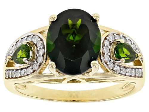 Photo of 3.07ctw Oval And Pear Shape Russian Chrome Diopside With .14ctw White Diamonds 10k Yellow Gold Ring - Size 6