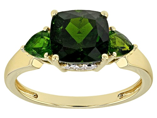 Photo of 2.47ctw Square Cushion & Trillion Russian Chrome Diopside, .05ctw Round White Zircon 10k Gold Ring - Size 7