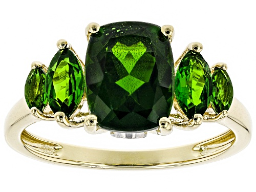 Photo of 2.62ctw Cushion and Marquise Russian Chrome Diopside With .07ctw White Zircon 10k Gold Ring - Size 8