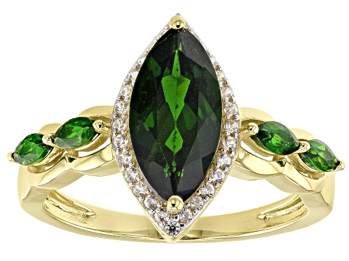 Photo of 1.96ctw Marquise Russian Chrome Diopside With .17ctw Round White Zircon 10k Yellow Gold Ring - Size 8