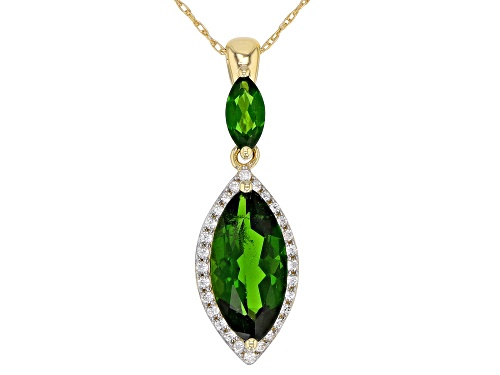 Photo of 1.86ctw Marquise Russian Chrome Diopside With .13ctw White Zircon 10k Yellow Gold Pendant With Chain
