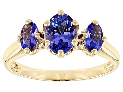 Photo of 1.05ctw Oval Tanzanite 10k Yellow Gold 3-Stone Ring - Size 7