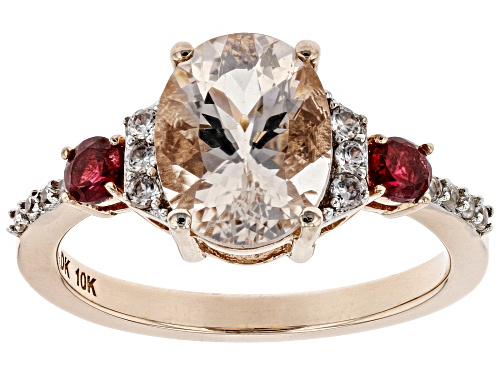 Photo of 2.10ctw Oval Cor-De-Rosa Morganite™,.24ctw Pink Spinel, And .27ctw White Zircon 10k Rose Gold Ring - Size 8