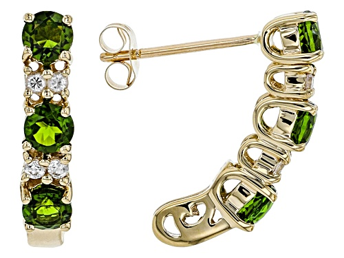 Photo of 1.02ctw Round Chrome Diopside With .15ctw Round White Zircon 10k Yellow Gold Earrings