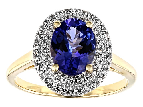 Photo of 1.48ct Oval Tanzanite With .35ctw Round White Zircon 10k Yellow Gold Ring - Size 7