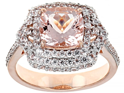 2.05ct Square Cushion Cor-De-Rosa Morganite™ With 1.25ctw Round White Zircon 10k Rose Gold Ring - Size 7