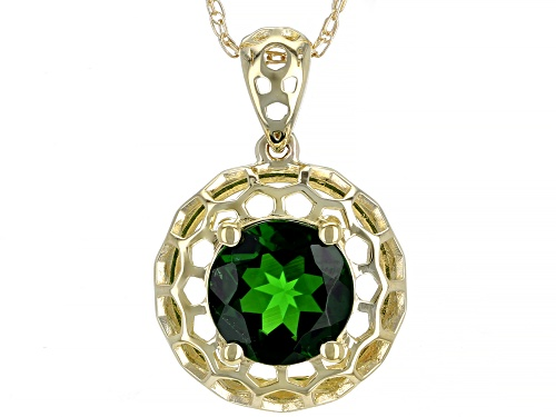 Photo of 1.72ct Round Russian Chrome Diopside Solitaire 10k Yellow Gold Halo Pendant With Chain