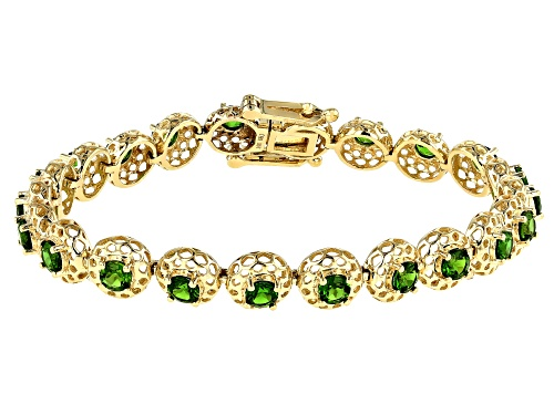 5.12ctw Round Russian Chrome Diopside 10k Yellow Gold Halo Bracelet - Size 7.25