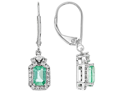 Photo of 1.02ctw Emerald Cut Ethiopian Emerald With .57ctw White Zircon Rhodium Over 10k White Gold Earrings