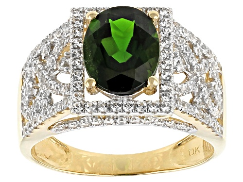 Photo of 1.85ct Oval Russian Chrome Diopside With 1.06ctw Round White Zircon 10k Yellow Gold Ring - Size 8