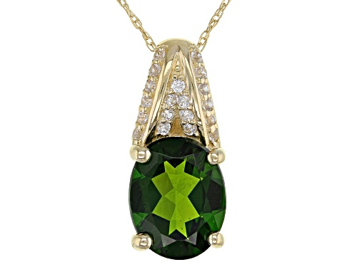 Photo of 1.63ct Oval Chrome Diopside With .12ctw Round White Zircon 10k Yellow Gold Pendant With Chain
