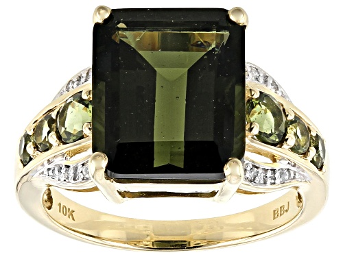 Photo of 4.70ctw Emerald Cut & Round Moldavite With .03ctw Round White Diamond Accent 10k Yellow Gold Ring - Size 8