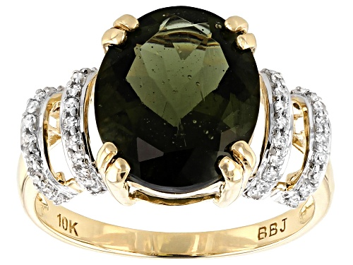 Photo of 3.06ct Oval Moldavite With .11ctw Round White Diamonds 10k Yellow Gold Ring - Size 7