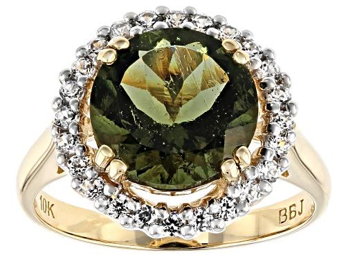 Photo of 2.41ct Round Moldavite With .43ctw Round White Zircon 10k Yellow Gold Ring - Size 7
