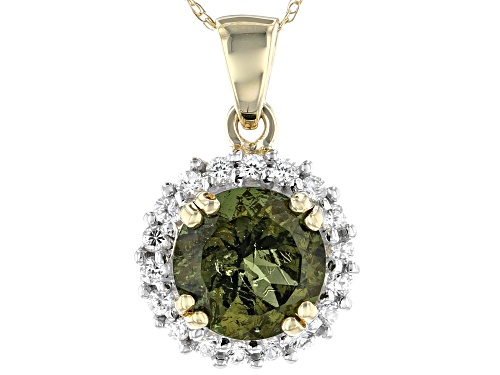 Photo of 1.26ct Round Moldavite With .32ctw Round White Zircon 10k Yellow Gold Pendant With Chain