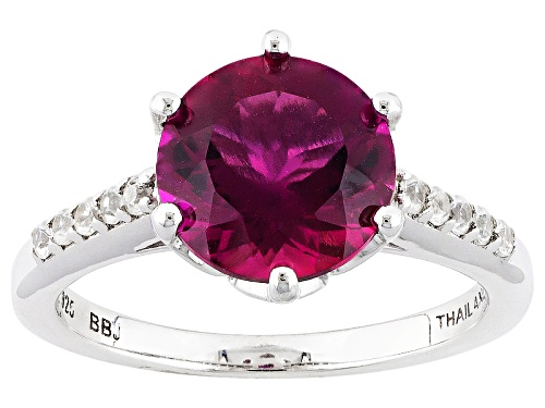 Photo of 2.04ct Round Lab Created Bixbite Solitaire With .17ctw Round White Zircon Sterling Silver Ring - Size 8