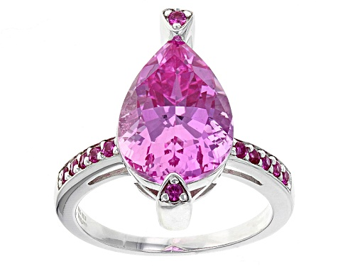 Photo of 6.57ctw Pear And Round Lab Created Pink Sapphire Sterling Silver Ring - Size 6